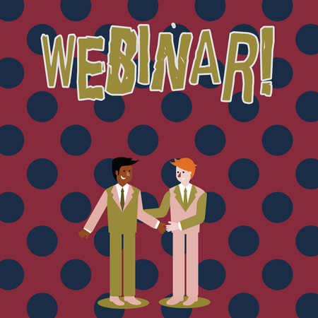 Photo for Writing note showing Webinar. Business concept for Internet distance learning web elearning Businessmen Smiling and Greeting each other by Handshaking - Royalty Free Image