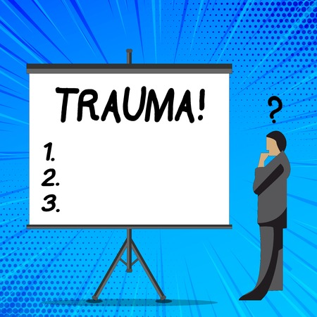 Foto de Word writing text Trauma. Business photo showcasing Disturbing physical and emotional injuries shock experience Businessman with Question Mark Above his Head Standing Beside Blank Screen - Imagen libre de derechos