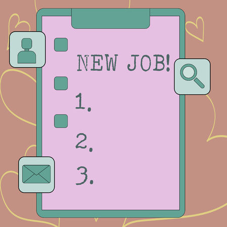 Foto de Writing note showing New Job. Business concept for recently having paid position regular employment with specific tasks Clipboard with Tick Box and Apps for Assessment and Reminder - Imagen libre de derechos