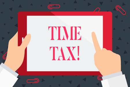 Foto de Handwriting text Time Tax. Conceptual photo when individual taxpayers prepare their financial statements Hand Holding Pointing Touching Blank Rectangular Color Tablet White Screen - Imagen libre de derechos