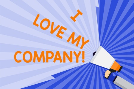 Foto de Word writing text I Love My Company. Business photo showcasing tell why admire their job and workplace Hand Holding Megaphone with Blank Wide Beam for Extending the Volume Range - Imagen libre de derechos