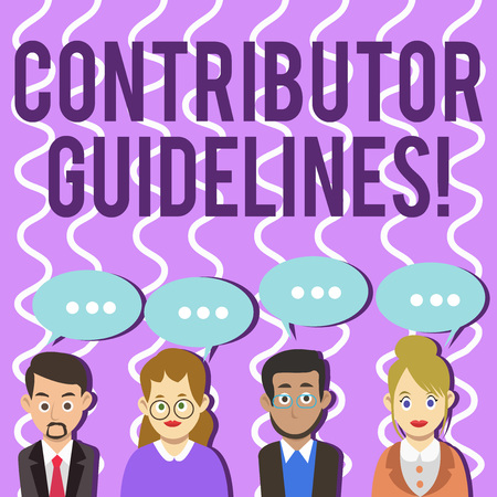 Foto de Conceptual hand writing showing Contributor Guidelines. Concept meaning demonstrating who writes articles for magazine or newspaper Group of Business People with Speech Bubble with Three Dots - Imagen libre de derechos