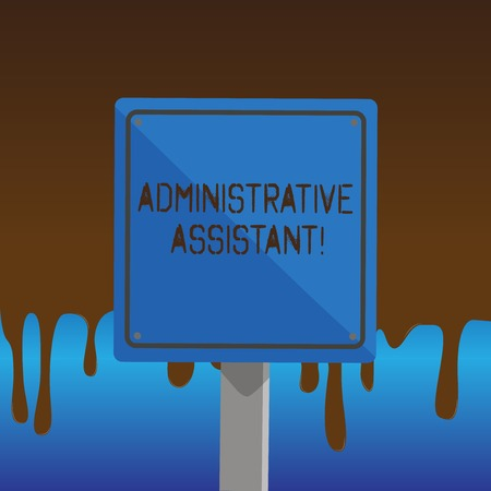 Foto de Text sign showing Administrative Assistant. Business photo showcasing demonstrating employed in office assist correspondence 3D Square Blank Colorful Caution Road Sign with Black Border Mounted on Wood - Imagen libre de derechos