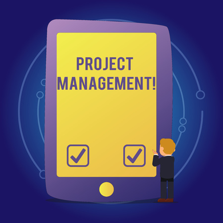 Foto de Text sign showing Project Management. Business photo text practice of initiating planning controlling work team Businessman Standing and Gesturing Facing Blank Screen Giant Tablet Device - Imagen libre de derechos