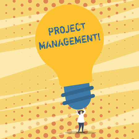 Foto de Text sign showing Project Management. Business photo showcasing practice of initiating planning controlling work team Person Standing and Raising Up Arms Holding Big Yellow Lightbulb for Ideas - Imagen libre de derechos