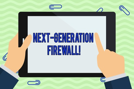 Foto de Writing note showing Next Generation Firewall. Business concept for combining firewall with other network filtering Hand Holding Pointing Touching Color Tablet White Screen - Imagen libre de derechos