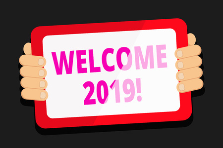 Photo pour Word writing text Welcome 2019. Business photo showcasing instance or analysisners of greeting someone like new year Color Tablet Smartphone with Blank Screen Handheld from the Back of Gadget - image libre de droit