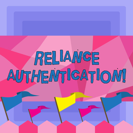 Foto de Handwriting text Reliance Authentication. Conceptual photo part of trust based identity attribution process Blank Solid Colorful Pennant Streamer Flag on Stick Mounted on Picket Fence - Imagen libre de derechos