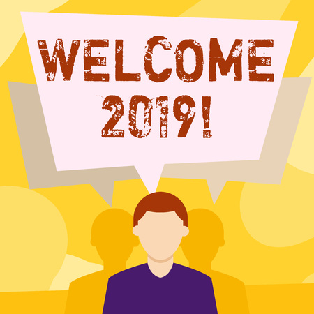 Photo pour Conceptual hand writing showing Welcome 2019. Concept meaning instance or analysisners of greeting someone like new year Faceless Man has Two Shadows with Speech Bubble Overlapping - image libre de droit