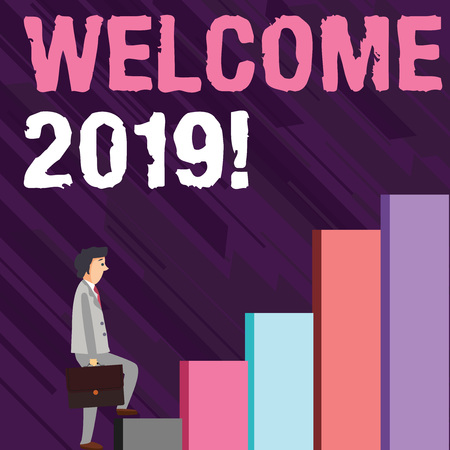 Photo pour Writing note showing Welcome 2019. Business concept for instance or analysisners of greeting someone like new year Man Carrying a Briefcase in Pensive Expression Climbing Up - image libre de droit