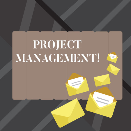 Foto de Text sign showing Project Management. Business photo showcasing practice of initiating planning controlling work team Closed and Open Envelopes with Letter Tucked In on Top of Color Stationery - Imagen libre de derechos