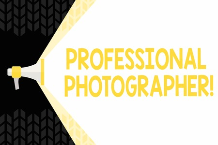 Photo for Text sign showing Professional Photographer. Business photo showcasing demonstrating who takes photographs especially as job Megaphone Extending the Capacity of Volume Range thru Blank Space Wide Beam - Royalty Free Image