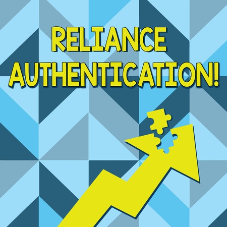 Foto de Conceptual hand writing showing Reliance Authentication. Concept meaning part of trust based identity attribution process Arrow Pointing Up with Detached Part Jigsaw Puzzle Piece - Imagen libre de derechos