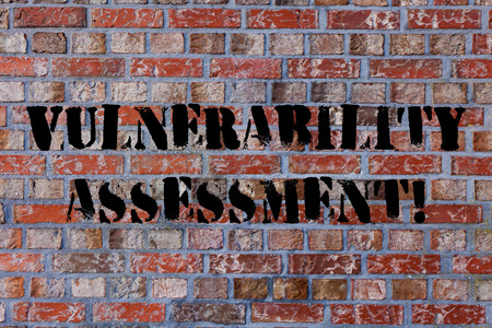 Photo for Text sign showing Vulnerability Assessment. Business photo text defining identifying prioritizing vulnerabilities Brick Wall art like Graffiti motivational call written on the wall - Royalty Free Image