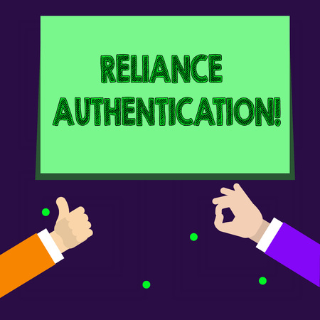 Foto de Writing note showing Reliance Authentication. Business concept for part of trust based identity attribution process Two Businessmen Hands Gesturing the Thumbs Up and Okay Sign - Imagen libre de derechos