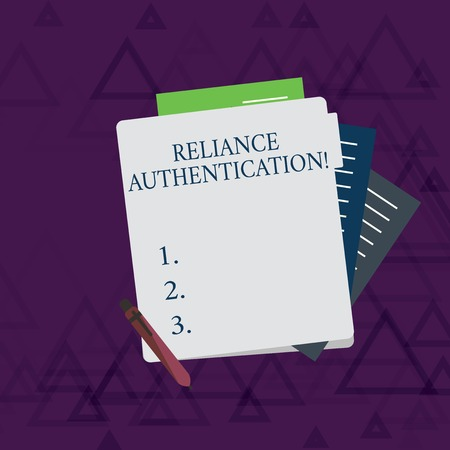 Foto de Writing note showing Reliance Authentication. Business concept for part of trust based identity attribution process Lined Paper Stationery Partly into View from Pastel Folder - Imagen libre de derechos