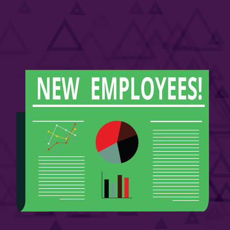 Photo for Handwriting text New Employees. Conceptual photo individual who was hired by employer to do specific job Colorful Layout Design Plan of Text Line, Bar, Linear and Pie Chart Diagram - Royalty Free Image