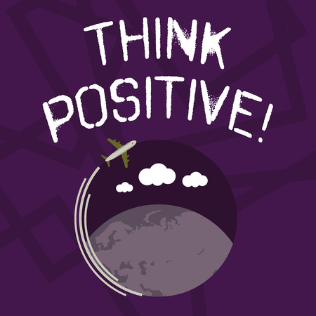 Photo pour Text sign showing Think Positive. Business photo showcasing mental attitude in wich you expect good and favorable results Airplane with Moving Icon Flying Around Colorful Globe and Blank Text Space - image libre de droit