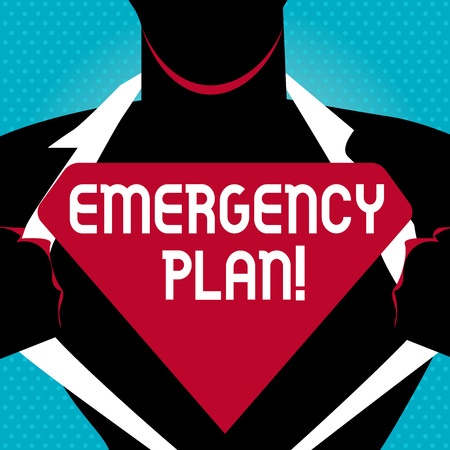 Foto de Text sign showing Emergency Plan. Business photo text actions developed to mitigate damage of potential events Man in Pose Opening his Shirt to reveal the Blank Triangular - Imagen libre de derechos