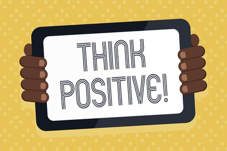 Photo pour Word writing text Think Positive. Business photo showcasing mental attitude in wich you expect good and favorable results Color Tablet Smartphone with Blank Screen Handheld from the Back of Gadget - image libre de droit