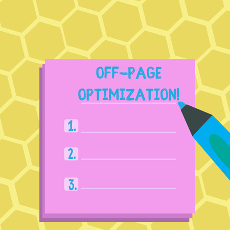 Foto per Word writing text Off Page Optimization. Business photo showcasing set of techniques to increase your website s is ranking Blank Colorful To Do Check List Planner Sheets with Tick Box and Marker Pen - Immagine Royalty Free