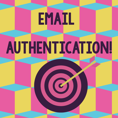 Foto de Text sign showing Email Authentication. Business photo text used to block harmful or fraudulent uses of email Color Dart Board in Concentric Style with Arrow Hitting the Center Bulls Eye - Imagen libre de derechos