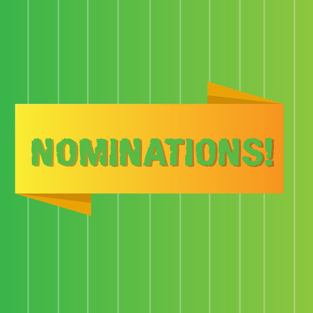 Photo pour Word writing text Nominations. Business photo showcasing action of nominating or state being nominated for prize Blank Folded Color Banner photo on Vertically Striped Two Toned Backdrop - image libre de droit