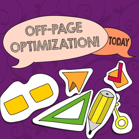 Foto per Conceptual hand writing showing Off Page Optimization. Concept meaning set of techniques to increase your website s is ranking Two Speech Balloon and Different Labels Sticker Style Icons - Immagine Royalty Free
