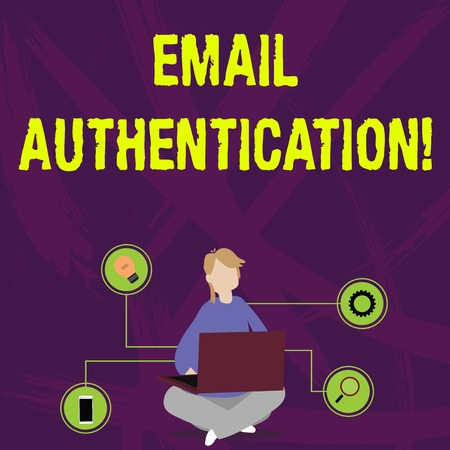 Foto de Writing note showing Email Authentication. Business concept for used to block harmful or fraudulent uses of email Woman Sitting with Crossed Legs on Floor Browsing the Laptop - Imagen libre de derechos