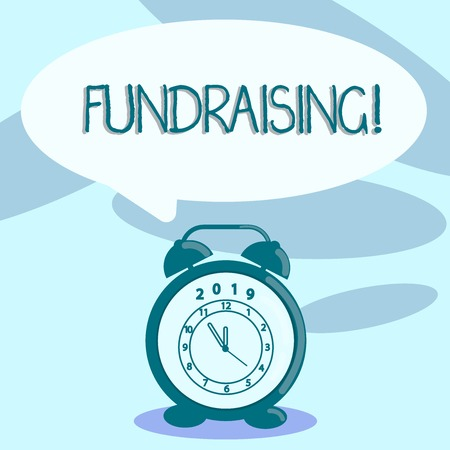 Photo for Writing note showing Fundraising. Business concept for seeking to generate financial support for charity or cause Speech Balloon Pastel Shade and Colorful Analog Alarm Clock - Royalty Free Image