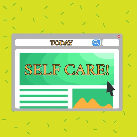 Photo pour Writing note showing Self Care. Business concept for practice of taking action to preserve or improve ones own health Template Pastel Colorful Website Layout for Homepage Format - image libre de droit