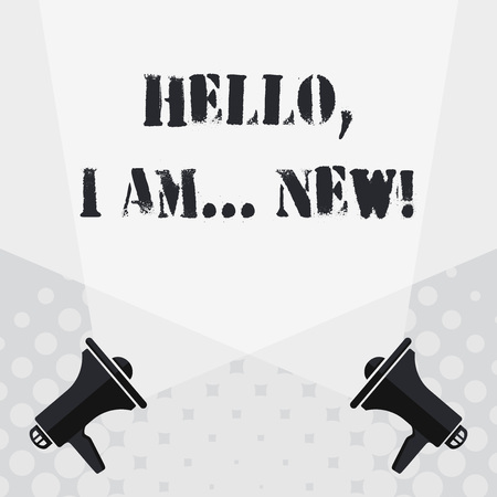 Photo for Text sign showing Hello I Am New. Business photo text used greeting or begin telephone conversation Blank Double Spotlight Crisscrossing Upward from Two Megaphones on the Floor - Royalty Free Image