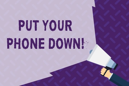 Photo pour Text sign showing Put Your Phone Down. Business photo showcasing end telephone connection saying goodbye caller Hand Holding Megaphone with Blank Wide Beam for Extending the Volume Range - image libre de droit