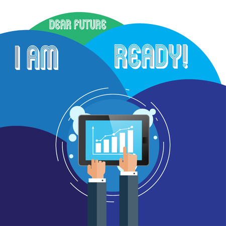 Foto per Handwriting text Dear Future I Am Ready. Conceptual photo state action situation being fully prepared Businessman Hand Touching Pointing to Bar Line Chart on Smartphone Screen - Immagine Royalty Free