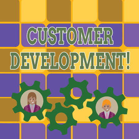 Photo for Word writing text Customer Development. Business photo showcasing formal methodology for building business startups Two Business People Each Inside Colorful Cog Wheel Gears for Teamwork Event - Royalty Free Image
