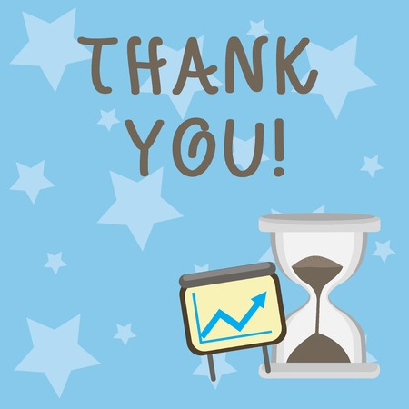 Photo for Conceptual hand writing showing Thank You. Concept meaning polite expression used when acknowledging gift service compliment Growth Chart with Arrow Going Up and Hourglass Sand Sliding - Royalty Free Image