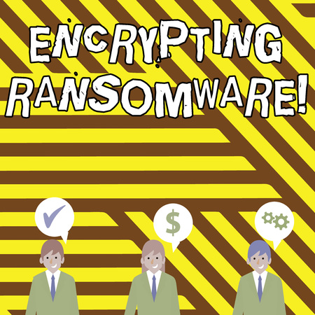Photo for Conceptual hand writing showing Encrypting Ransomware. Concept meaning malware that limits users from accessing their system Businessmen has Speech Bubble with Optimization Cost Icons - Royalty Free Image