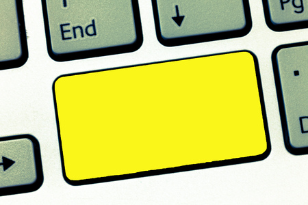Foto de Design business concept Empty template copy space text for Ad website isolated. Keyboard key Intention to create computer message, pressing keypad idea - Imagen libre de derechos