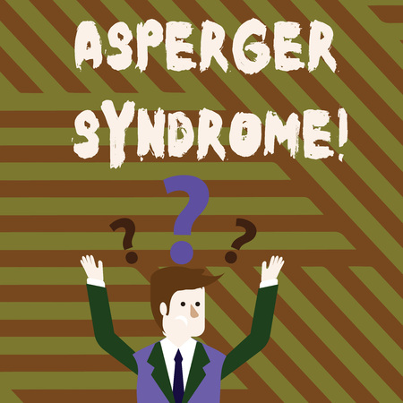 Foto de Conceptual hand writing showing Asperger Syndrome. Concept meaning characterized as a distinct autism spectrum disorder Businessman Raising Both Arms with Question Marks Above Head - Imagen libre de derechos