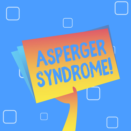 Foto de Handwriting text Asperger Syndrome. Conceptual photo characterized as a distinct autism spectrum disorder Hand Holding and Raising Blank Space Colorful File Folder with Sheet Inside - Imagen libre de derechos