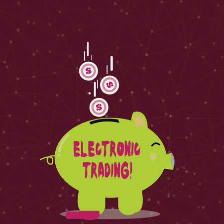 Foto de Handwriting text writing Electronic Trading. Conceptual photo method of trading financial derivatives electronically Color Piggy Bank Sideview and Dollar Currency Coins Falling Down to the Slit - Imagen libre de derechos