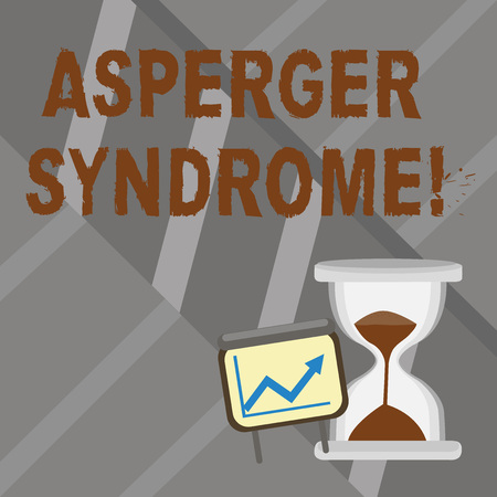 Foto de Word writing text Asperger Syndrome. Business photo showcasing characterized as a distinct autism spectrum disorder Successful Growth Chart with Arrow Going Up and Hourglass with Sand Sliding - Imagen libre de derechos