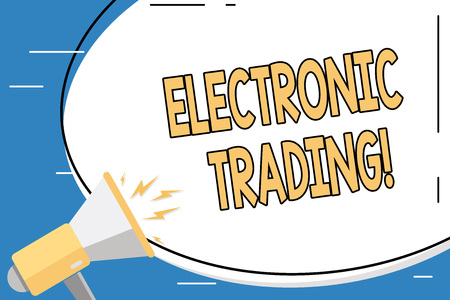 Foto de Conceptual hand writing showing Electronic Trading. Concept meaning method of trading financial derivatives electronically Blank White Huge Oval Shape Sticker and Megaphone Shouting - Imagen libre de derechos
