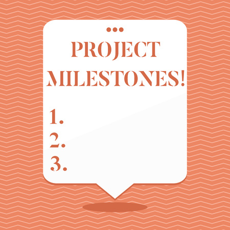 Foto de Conceptual hand writing showing Project Milestones. Concept meaning duration that shows an important achievement in a project Blank White Speech Balloon Floating with Punched Hole on Top - Imagen libre de derechos