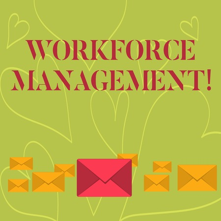 Photo for Handwriting text writing Workforce Management. Conceptual photo use to optimize the productivity of its employees Pastel Color Closed Envelopes in Different Sizes with Big one in the Middle - Royalty Free Image