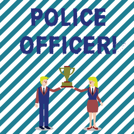 Foto de Handwriting text writing Police Officer. Conceptual photo a demonstrating who is an officer of the law enforcement team Man and Woman in Business Suit Holding Together the Championship Trophy Cup - Imagen libre de derechos