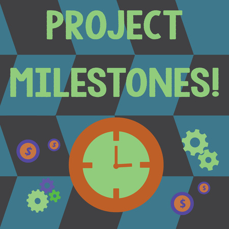 Foto de Word writing text Project Milestones. Business photo showcasing duration that shows an important achievement in a project Time Management Icons of Clock, Cog Wheel Gears and Dollar Currency Sign - Imagen libre de derechos
