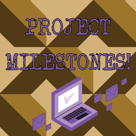 Foto de Conceptual hand writing showing Project Milestones. Concept meaning duration that shows an important achievement in a project Mail Envelopes around Laptop with Check Mark icon on Monitor - Imagen libre de derechos