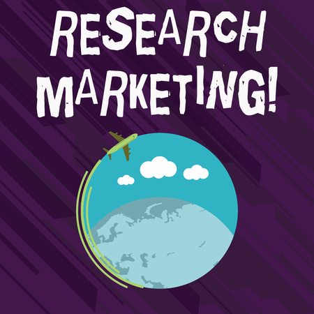 Foto de Conceptual hand writing showing Research Marketing. Concept meaning process of gathering and interpreting info about a market Airplane Flying Around Colorful Globe and Blank Text Space - Imagen libre de derechos