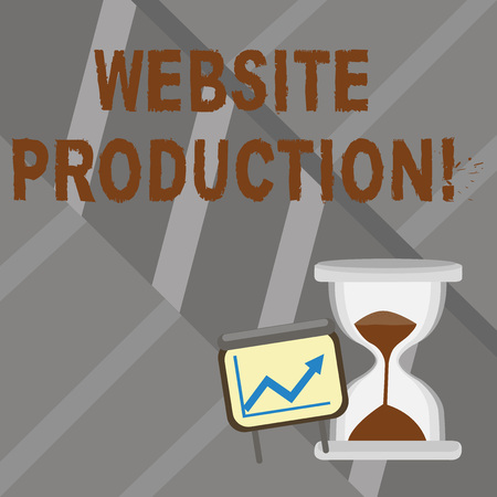 Foto de Word writing text Website Production. Business photo showcasing process of creating websites and it s is components Successful Growth Chart with Arrow Going Up and Hourglass with Sand Sliding - Imagen libre de derechos